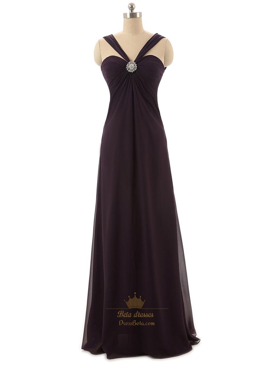 fe9e8c80ff7 Dark Purple Sweetheart Neckline Brush Train Chiffon Prom Dress With Straps  SKU -P141