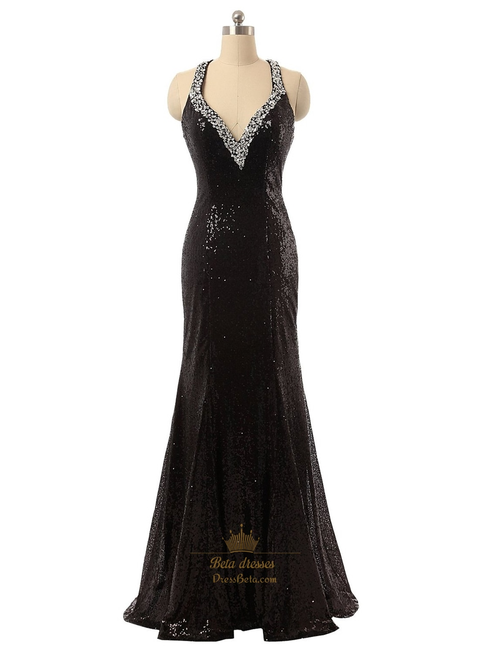 3090697ef35d Black Sequin V-Neck Beaded Straps Bodycon Mermaid Prom Dress With Open Back  SKU -P144
