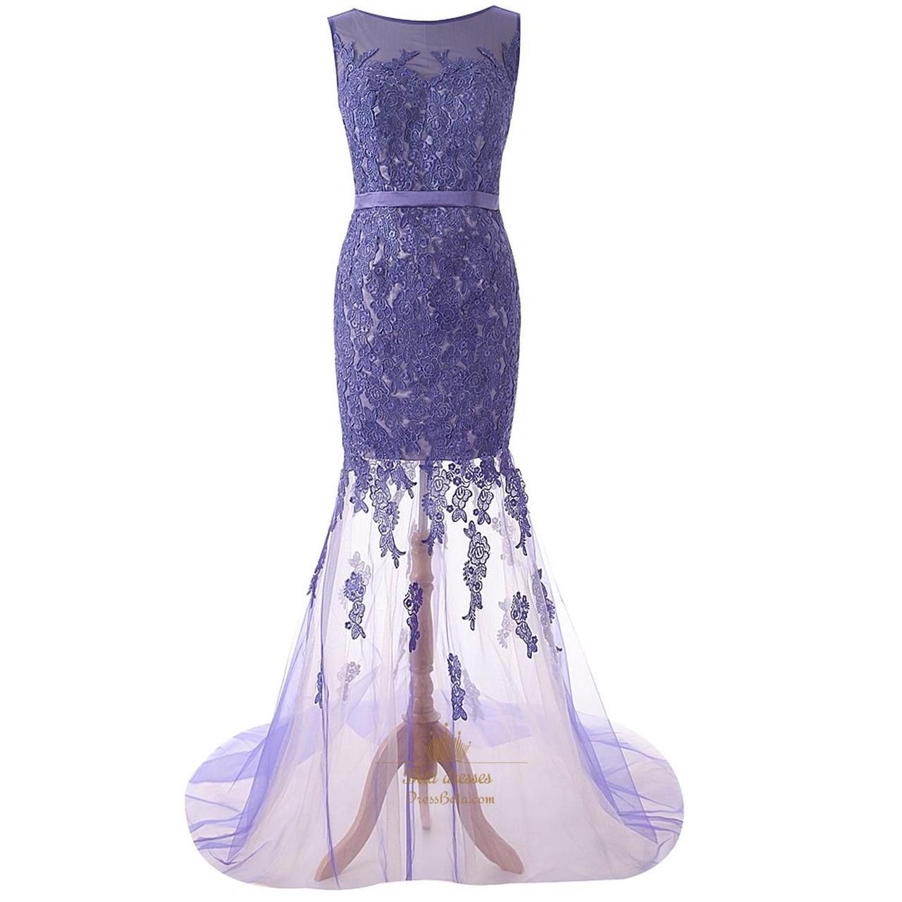 Purple Lace Mermaid Prom Dress