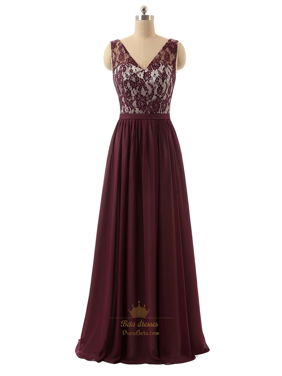 188a3dcc95df Dark Red Sheer Lace Bodice V-Neck Chiffon Prom Dress With Open Back SKU  -P159