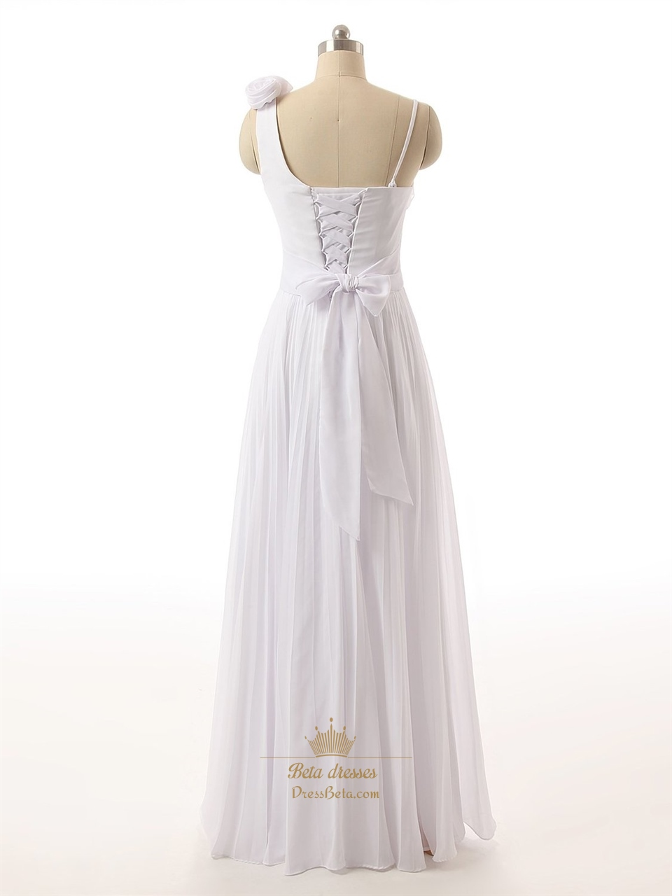 White Roses One Shoulder Ruched Bodice Chiffon Dress With