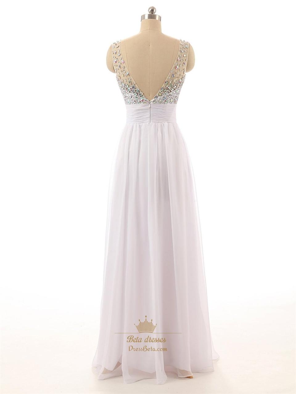 white beaded bodice sheer straps chiffon prom dress with v