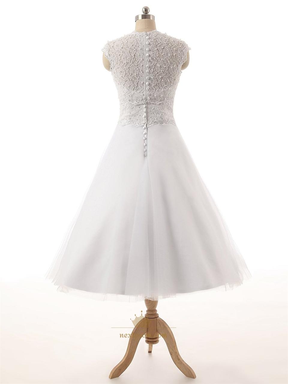 White lace bodice sweetheart neckline tea length tull for Sweetheart tea length wedding dress