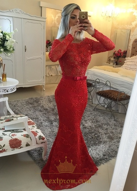 Red Long Sleeve Off Shoulder Lace Beaded Bodice Mermaid Prom Dress SKU  -AP235 023a3d855