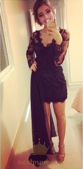 Black Sheer Lace Long Sleeve V Neck Short Dress With