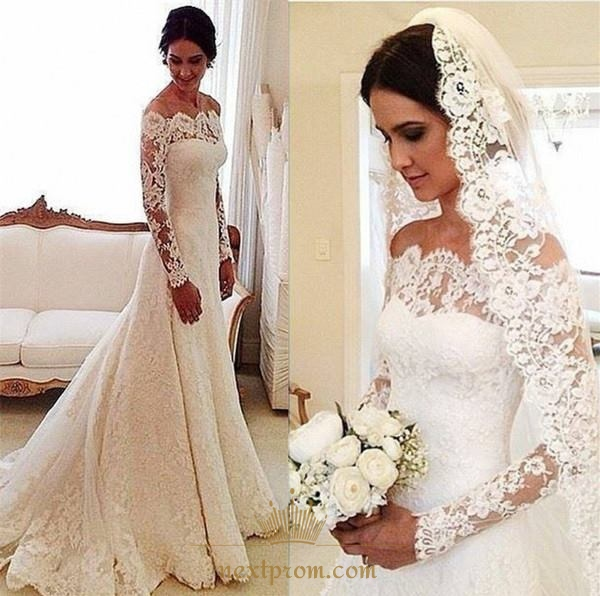 Vintage Wedding Dresses Usa: White Long Sleeve Off Shoulder Lace Overlay Wedding Dress