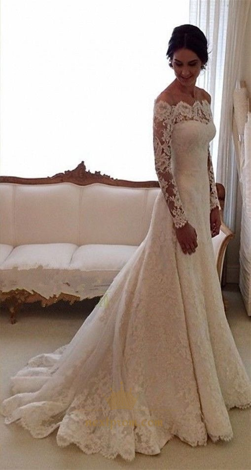White Long Sleeve Off Shoulder Lace Overlay Wedding Dress