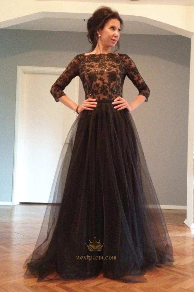 cd1934c2e972 Black Lace Applique Long Sleeve Floor Length Prom Dress With Open Back SKU  -AP299