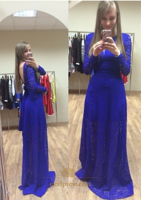 Royal Blue Long Sleeve Backless Floor Length Lace Prom Dress With ...