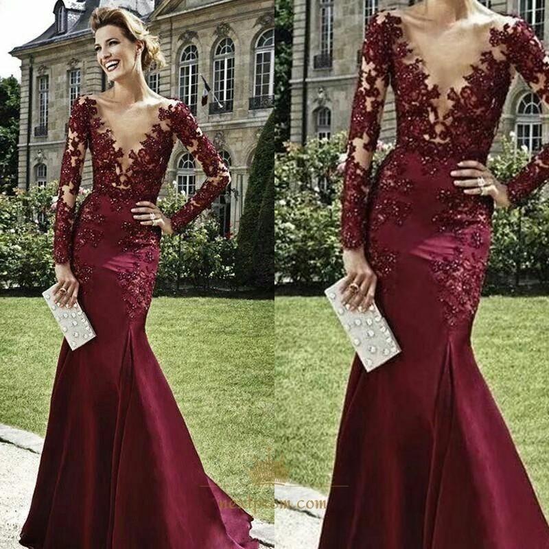 Burgundy Long Sleeve Illusion Lace Applique V Neck Mermaid Prom ...