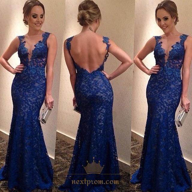 37ec4faadf3 Royal Blue Sleeveless Deep V Neck Open Back Lace Mermaid Prom Dress SKU  -AP338
