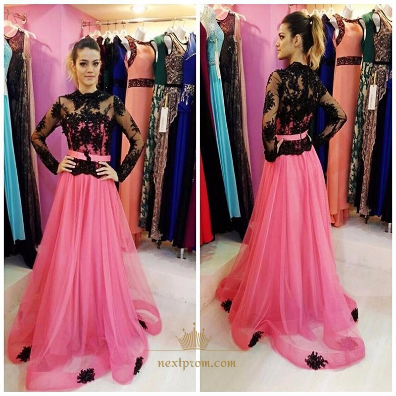 Illusion Black Long Sleeve Lace Bodice Pink Tulle Overlay Prom Dress ...