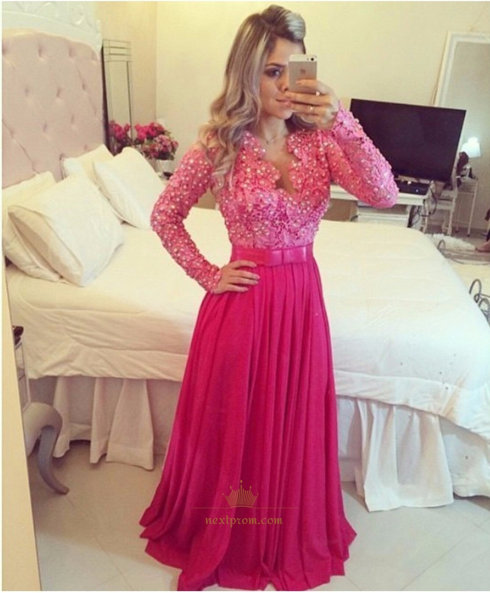 Hot Pink Long Sleeve Lace Beaded Bodice Chiffon Bottom ...