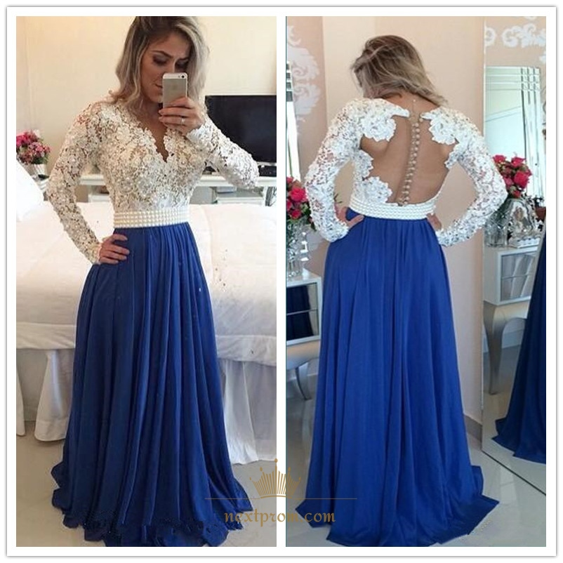 11a618bc2b2a White Lace Beaded Bodice Sheer Back Royal Blue Chiffon Long Prom Dress SKU  -AP359
