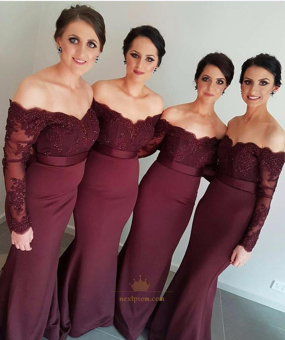 4246efdac833 Burgundy Off Shoulder Long Sleeve Lace Bodice Mermaid Bridesmaid Dress SKU  -AP421