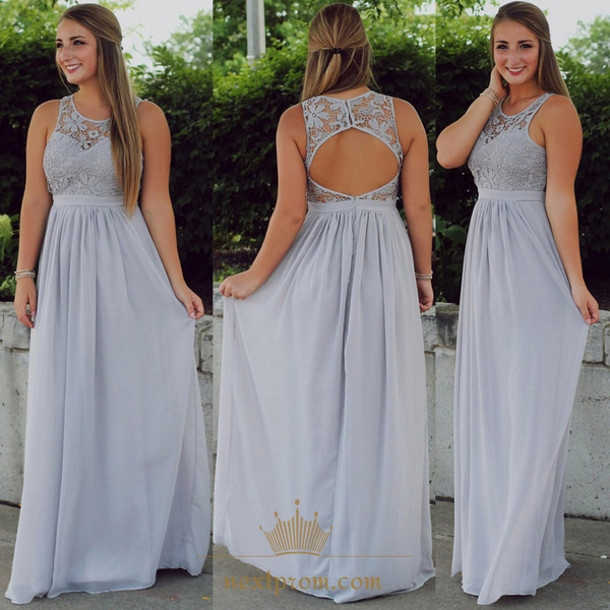 d8cd51f64a8 Grey Illusion Lace Neckline Chiffon Bridesmaid Dress With Keyhole Back SKU  -AP428