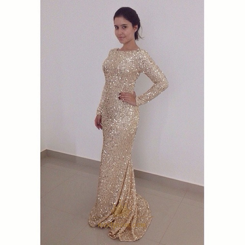 795ad1c2962b Champagne Long Sleeve Sequin Sheath Mermaid Prom Dress With Open Back SKU  -AP455