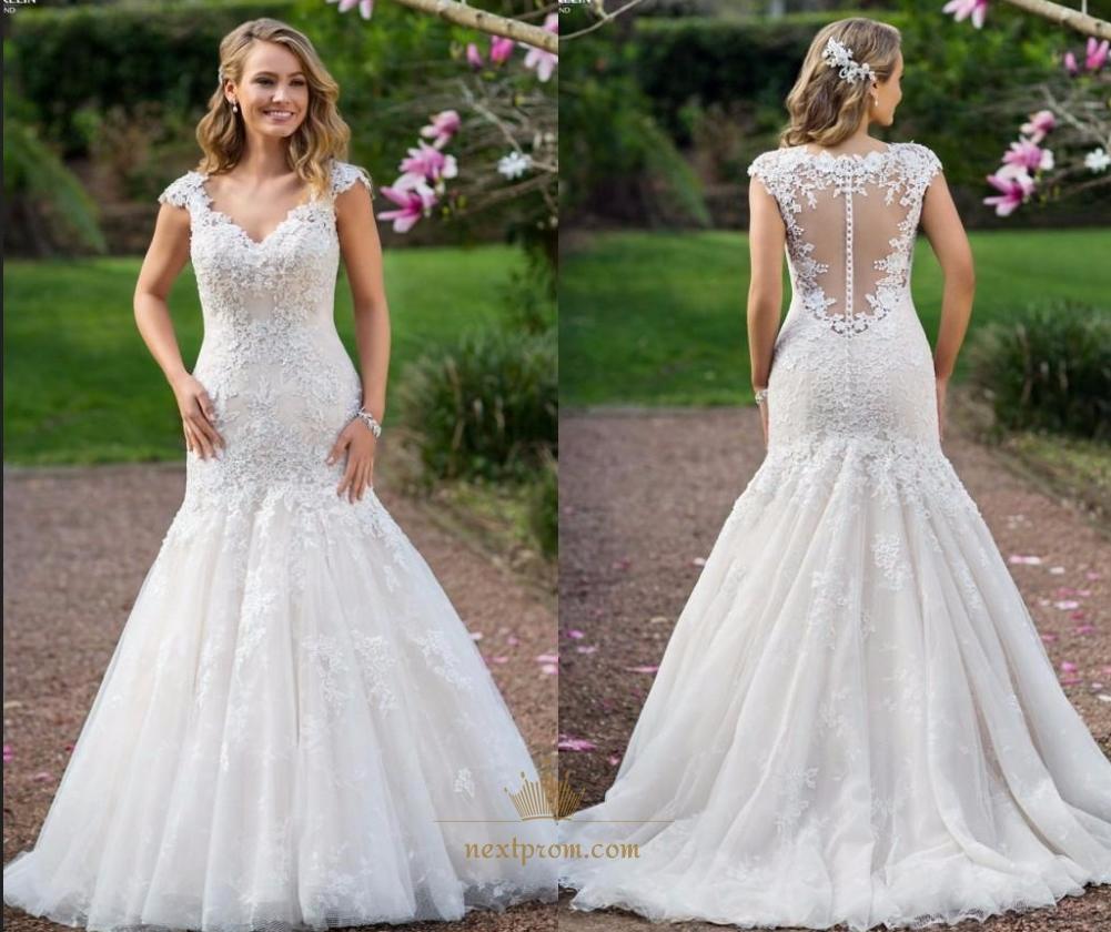 Cap Sleeve Illusion Lace Applique Bodice Dropped Waist Wedding Dress