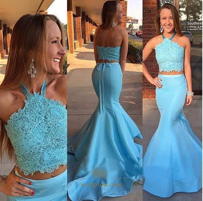 772f9979ffd Sky Blue Halter Neck Lace Bodice Stain Two Piece Mermaid Prom Dress SKU  -AP467