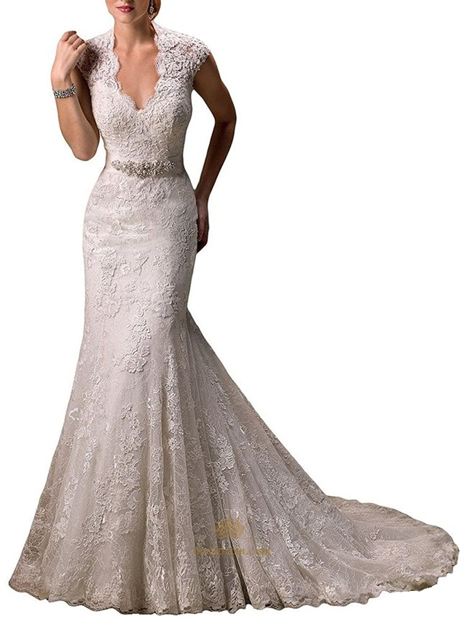 Lace overlay cap sleeve keyhole back mermaid wedding dress for Lace cap sleeve keyhole back wedding dress