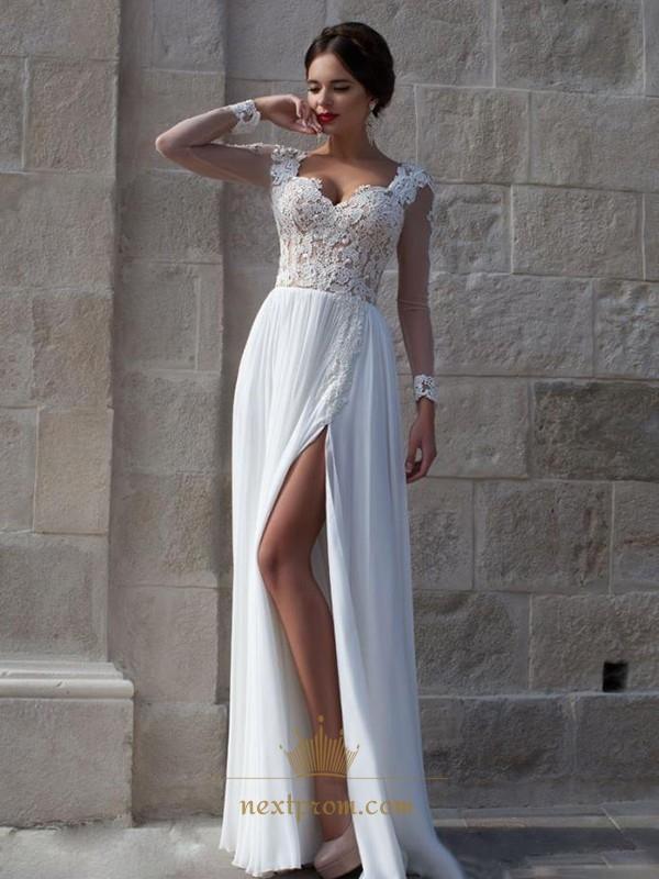 09c0b00ef9fd White Sheer Long Sleeve Lace Bodice Side Split Chiffon Long Prom Dress SKU  -AP486