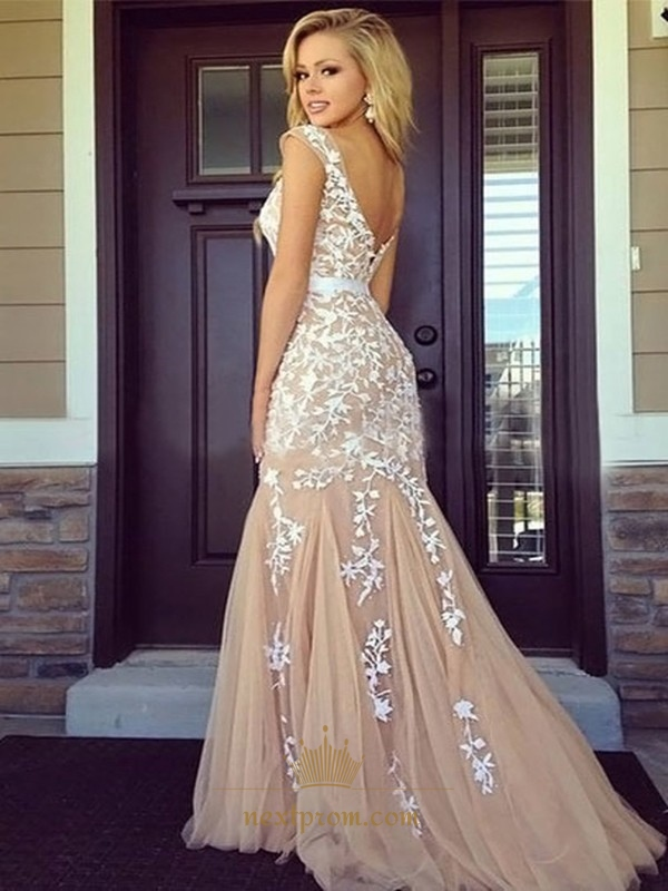 Champagne Sheer Cap Sleeve Floral Applique Backless