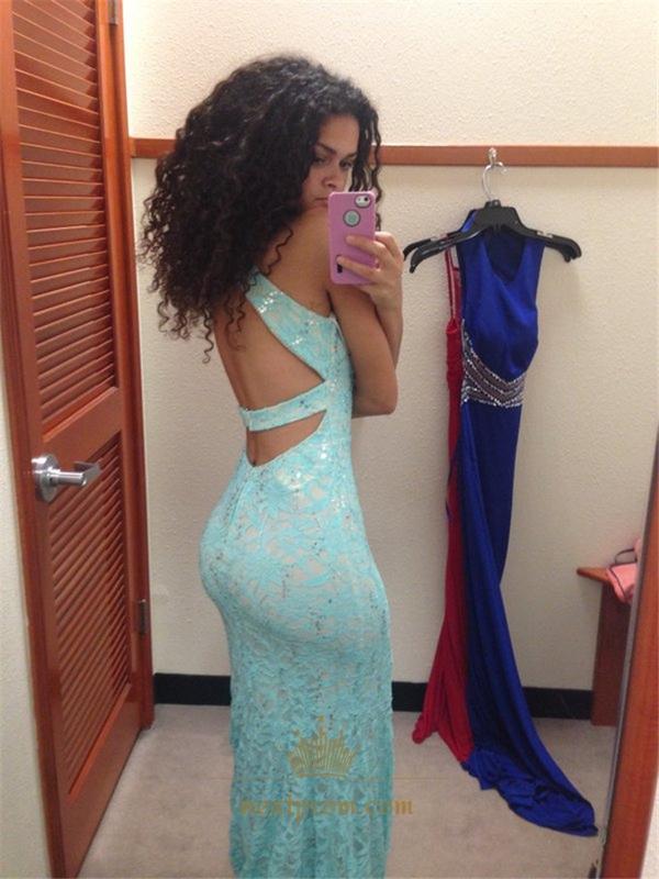 8b36867ad8 Light Blue Beaded Halter Neck Backless Lace Sheath Mermaid Prom Dress