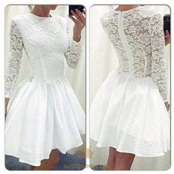 Long Sleeve White Lace Bodice Chiffon Skirt Elegant Simple: White Illusion Long Sleeve Lace Bodice A Line Knee Length
