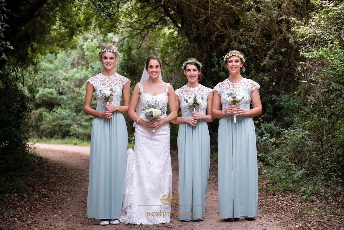 Illusion Cap Sleeve Lace Bodice Floor Length Chiffon Bridesmaid Dress