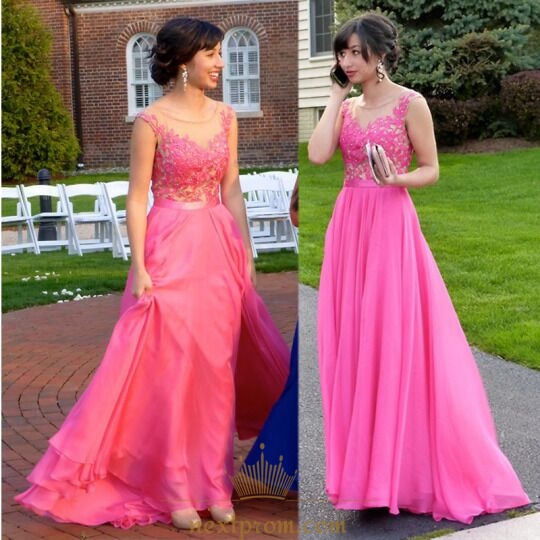 Hot Pink Sleeveless Sheer Lace Bodice Chiffon Long Bridesmaid Dress
