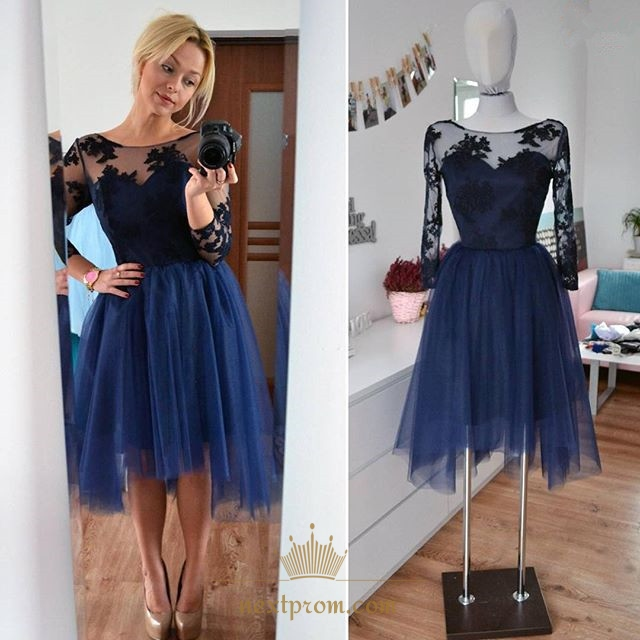 fa8202fa0c1 Illusion Applique Bodice Tulle Short Cocktail Dress With Long Sleeve ...