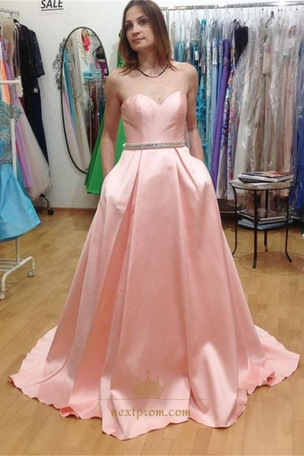 Pink Elegant Strapless Sweetheart Floor Length Formal Evening Dress ...