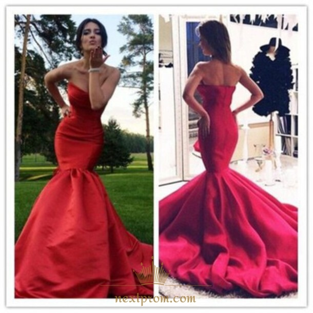 8c68cfda01a6 Elegant Red Strapless Dropped Waist Mermaid Evening Dress With Train SKU  -AP562