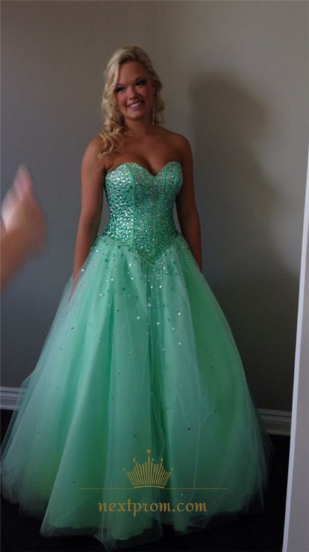 Mint Green Strapless Beaded Embellished Tulle Floor Length