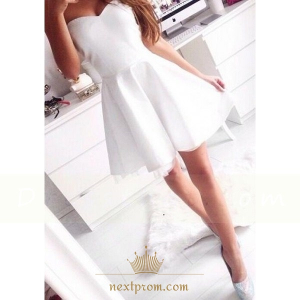 625fedda70b Cute White Strapless Sweetheart Neckline Homecoming Dress With Tulle ...