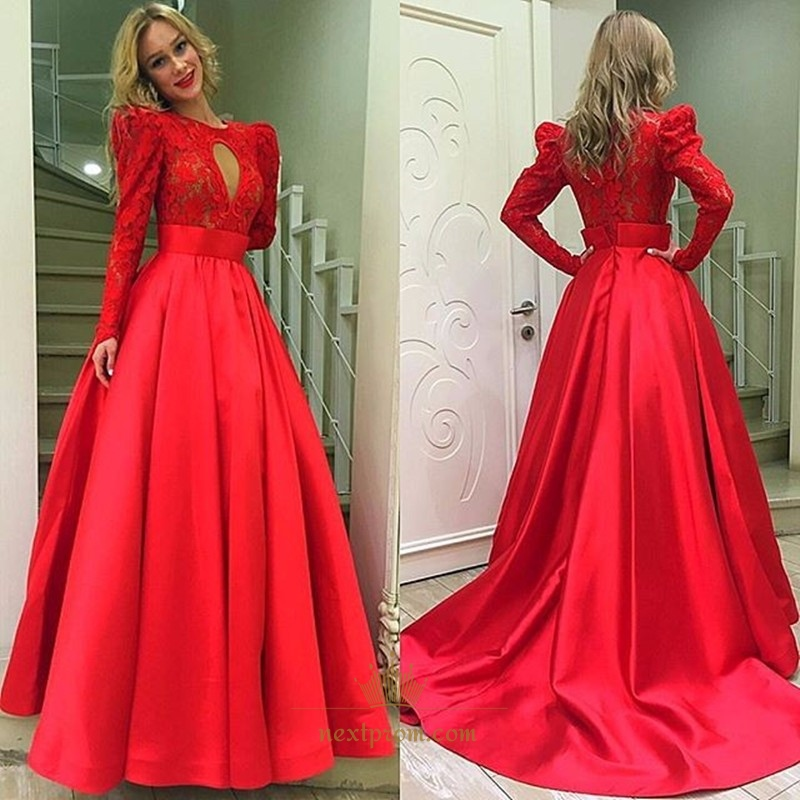 354cd54c994 Red Long Sleeve Lace Bodice Floor Length Ball Gown With Keyhole Detail SKU  -AP650