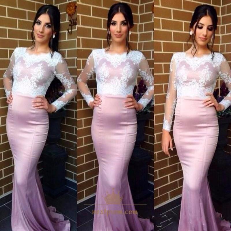 9eae2d0e88 Lilac Illusion Long Sleeve Lace Bodice Sheath Mermaid Long Prom Dress