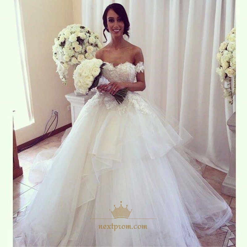 Elegant Off The Shoulder Sweetheart Lace Top Ball Gown Wedding Dress ...