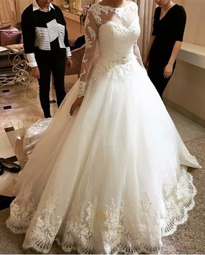 White Sheer Long Sleeve Ball Gown Wedding Dress With Lace