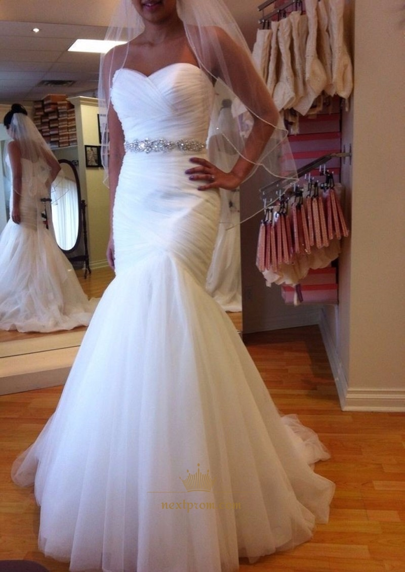 White strapless dropped waist mermaid wedding dress with for Wedding dresses with ruching and dropped waist