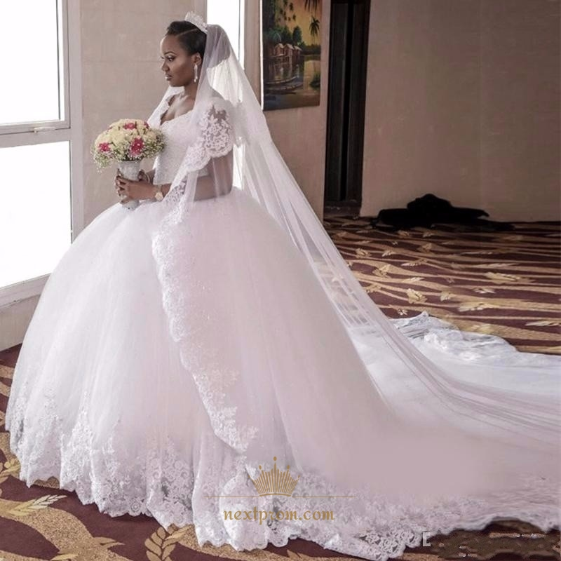 White Cap Sleeve Lace Embellished A-Line Tulle Ball Gown