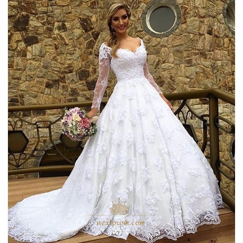 Elegant White Illusion Long Sleeve V Neck Lace Ball Gown Wedding Dress Next Prom Dresses