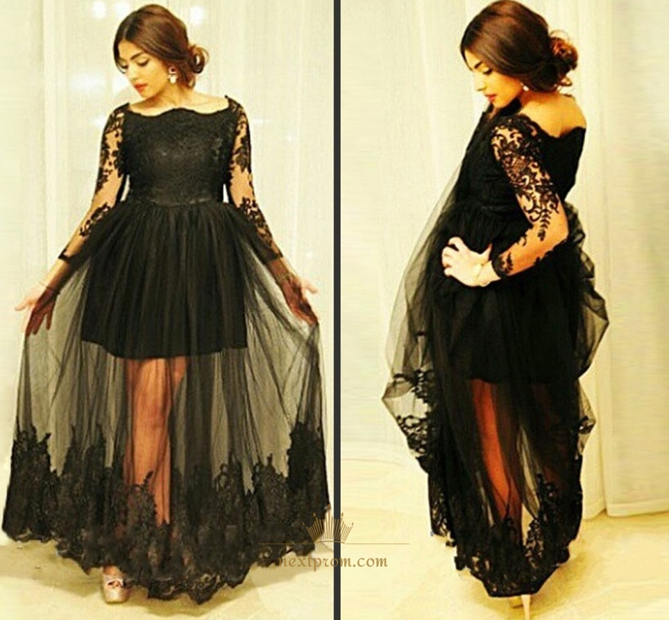 8d6819dba617 Black Long Sleeve Prom Dress With Lace Embellished And Tulle Overlay SKU  -AP705