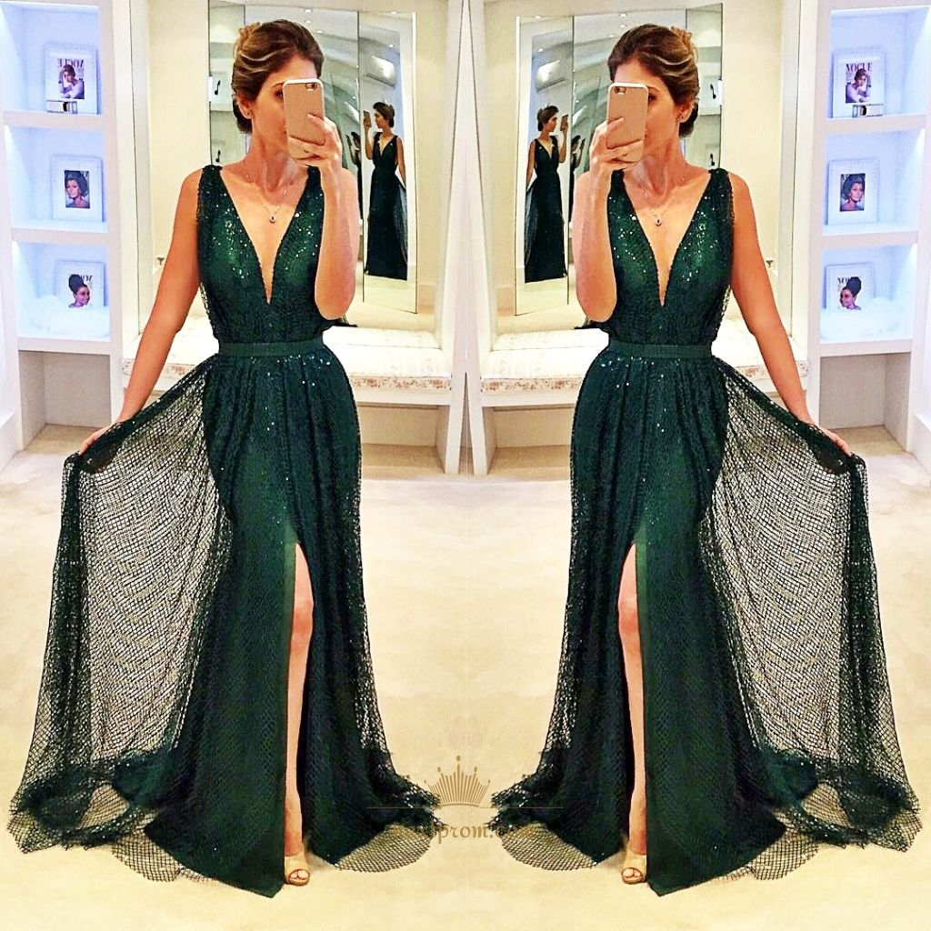 Dark Green Sleeveless Deep V-Neck Floor Length Evening Dress With Slit SKU  -AP724 d591c4e6e