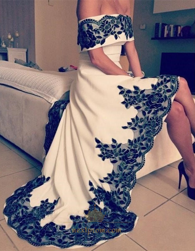 928d4a69d27 White Off The Shoulder High Low Prom Dress With Black Lace Embellished SKU  -AP727