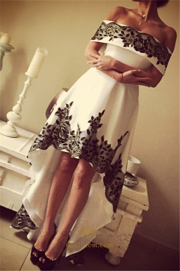 1c285939 White Off The Shoulder High Low Prom Dress With Black Lace Embellished
