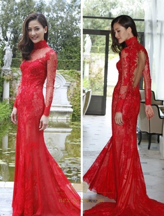 ba352f5cd9b Red Illusion Long Sleeve High Neck Keyhole Back Lace Long Prom Dress SKU  -AP750