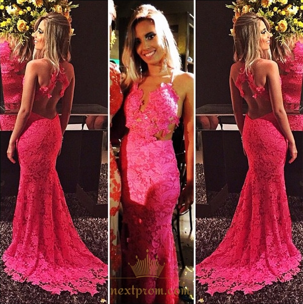 Hot Pink Illusion Sleeveless Backless Lace Applique Mermaid Prom ...