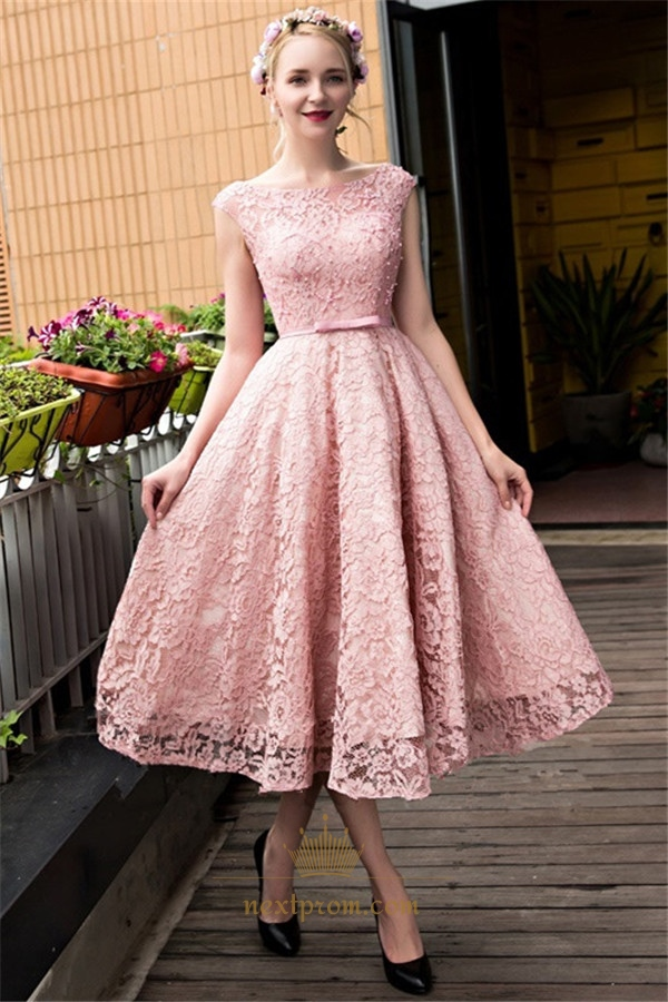 Vintage Pink Cap Sleeve Tea Length Homecoming Dress With