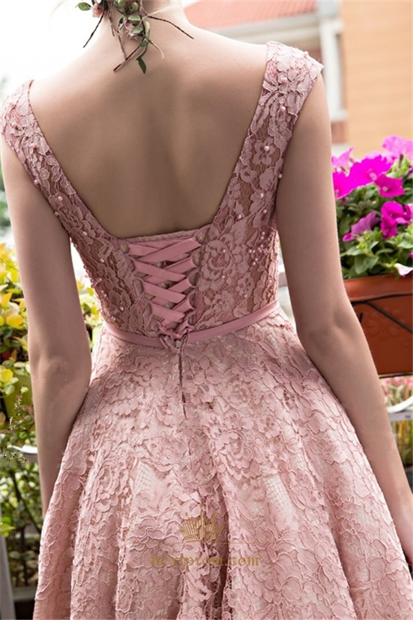 Vintage Pink Cap Sleeve Tea Length Homecoming Dress With Lace ...